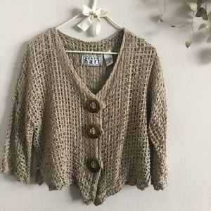 Oatmeal Square Crocheted Sweater